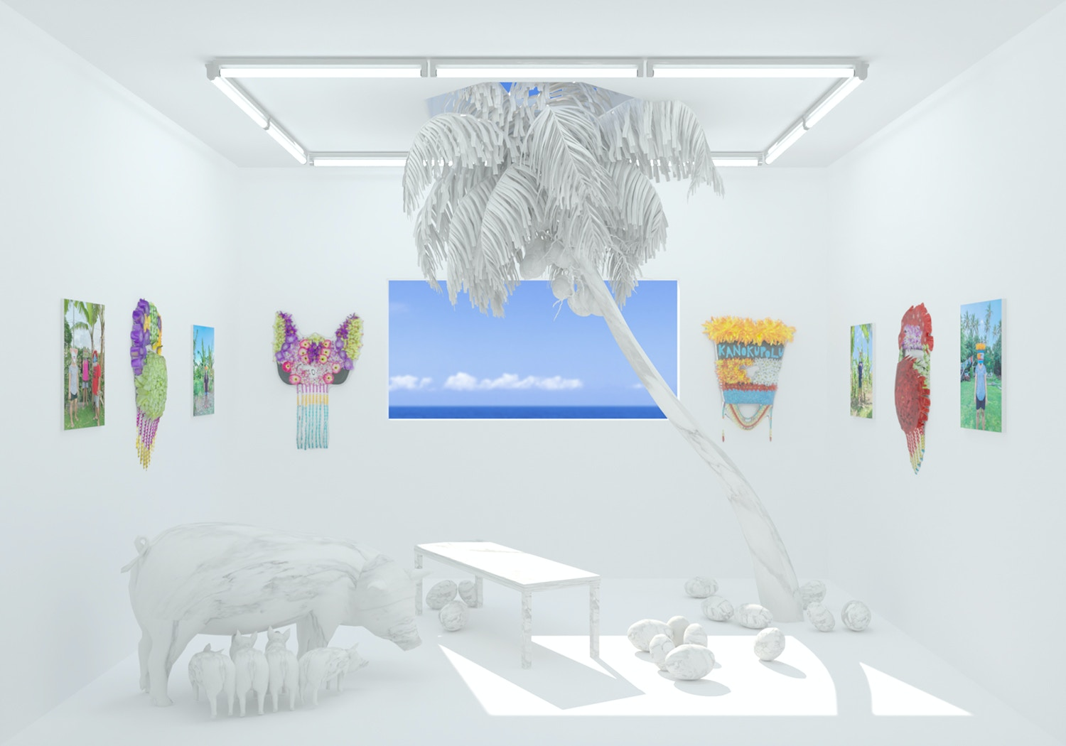 Sione Tuívailala Monū presented by May Fair Booth render by Edward Smith Image courtesy of the artist and May Fair Art Fair